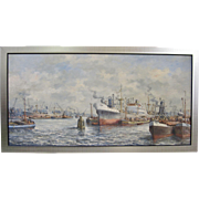 Mid-Century American Oil Painting Ship Harbor Port Signed