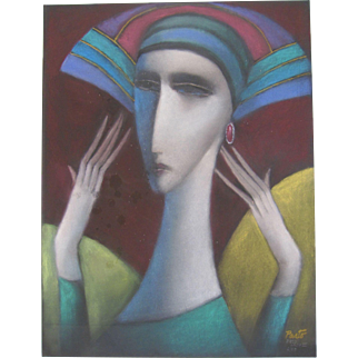"Sammy Pasto Original Art ""Deco Lady II"" Pastel Painting Drawing"