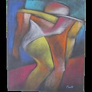 Cubist Figure Man Pastel Painting Listed Artist Sammy Pasto