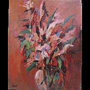 Sammy Pasto Original Expressionist Pink Floral Still Life