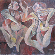 Sammy Pasto Listed CA Art Cubist Modernist Large Painting Two Jazz Musicians