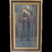 Antique Original Painting Saint Cecilia Catholic Religious Art Musicians Harp