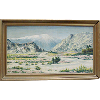 "THORWALD MADSEN Listed Early CA Plein Air ""Mt. San Jacinto"" Desert Oil Painting"