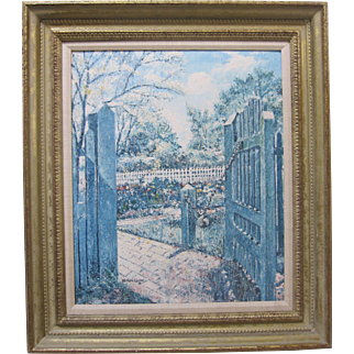 William Collier SIGNED Williamsburg Garden Original Oil Painting Marshall Fields