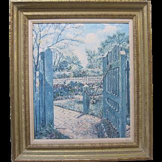 William Collier SIGNED Williamsburg Garden Original Oil Painting Marshall Fields