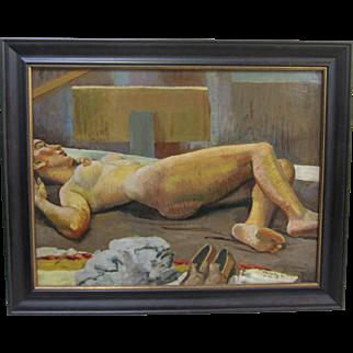 William Rakocy Listed Mid Century Nude Reclining Female Large Oil Painting