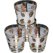Vintage Frosted White Glasses with Gold Tone Autumn Leaf Foliage Pattern
