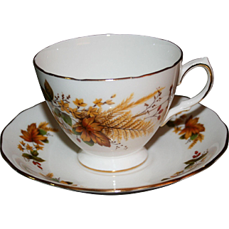 Vintage Queen Anne Bone China Tea Cup and Saucer with Autumn Leaf Pattern
