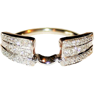 Glistening Estate 0.60ctw Princess & Round Cut Diamond Ring Enhancer/Guard/Wrap for Solitaire Ring in Solid 14 Karat White Gold ~ FREE International Shipping