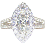 RARE, GIA-Rated INTERNALLY FLAWLESS (IF) 1.88ctw Marquise Brilliant Cut, Diamond Halo Ring, 14K WG & FREE International Shipping