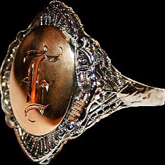 Timeless & Pristine Art Deco Era Monogram (Initial) / Signet Ring, Two Tone 14 Karat Gold - FREE International Shipping