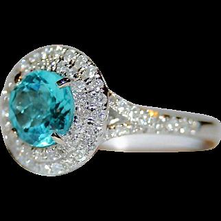 Luxurious Estate 2.10 ctw Ocean Blue Apatite & Double Halo Diamond Split Shank Ring in 14K White Gold, FREE International Shipping