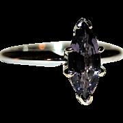 Rich & Ravishing Estate, 1.11 ctw Violet, Marquise Cut Natural Spinel Ring in 14K White Gold, FREE International Shipping