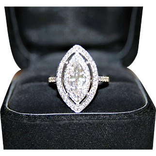 "Spectacular, Bright White GIA Certified ""D"" Color, 1.59ctw Marquise Cut Double Diamond Halo Ring, 14K WG - FREE Shipping"