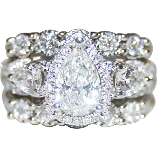 Phenomenal, Icy White 2.44ctw Pear & Round Brilliant Cut 3 Piece Diamond Ring Set, FREE Shipping