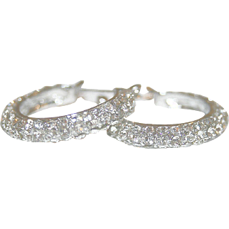 Icy White & Shimmering Vintage Rhinestone, Silver-tone Pierced Earrings - FREE International Shipping