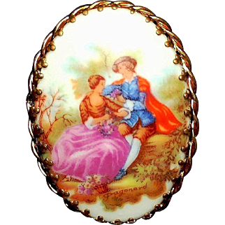 Forever a Classic - Winsome, Vintage Limoges France Porcelain Portrait Brooch Pin Signed