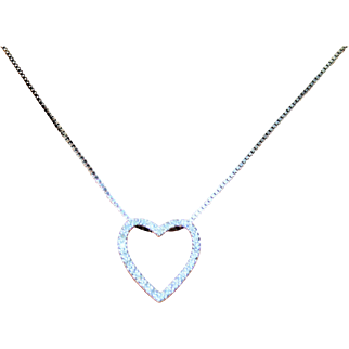 """Shimmering White & Fiery Vintage Diamond Heart Pendant in 10 Karat White Gold ~ Includes 16"""" Sterling Silver Chain & FREE International Shipping"""