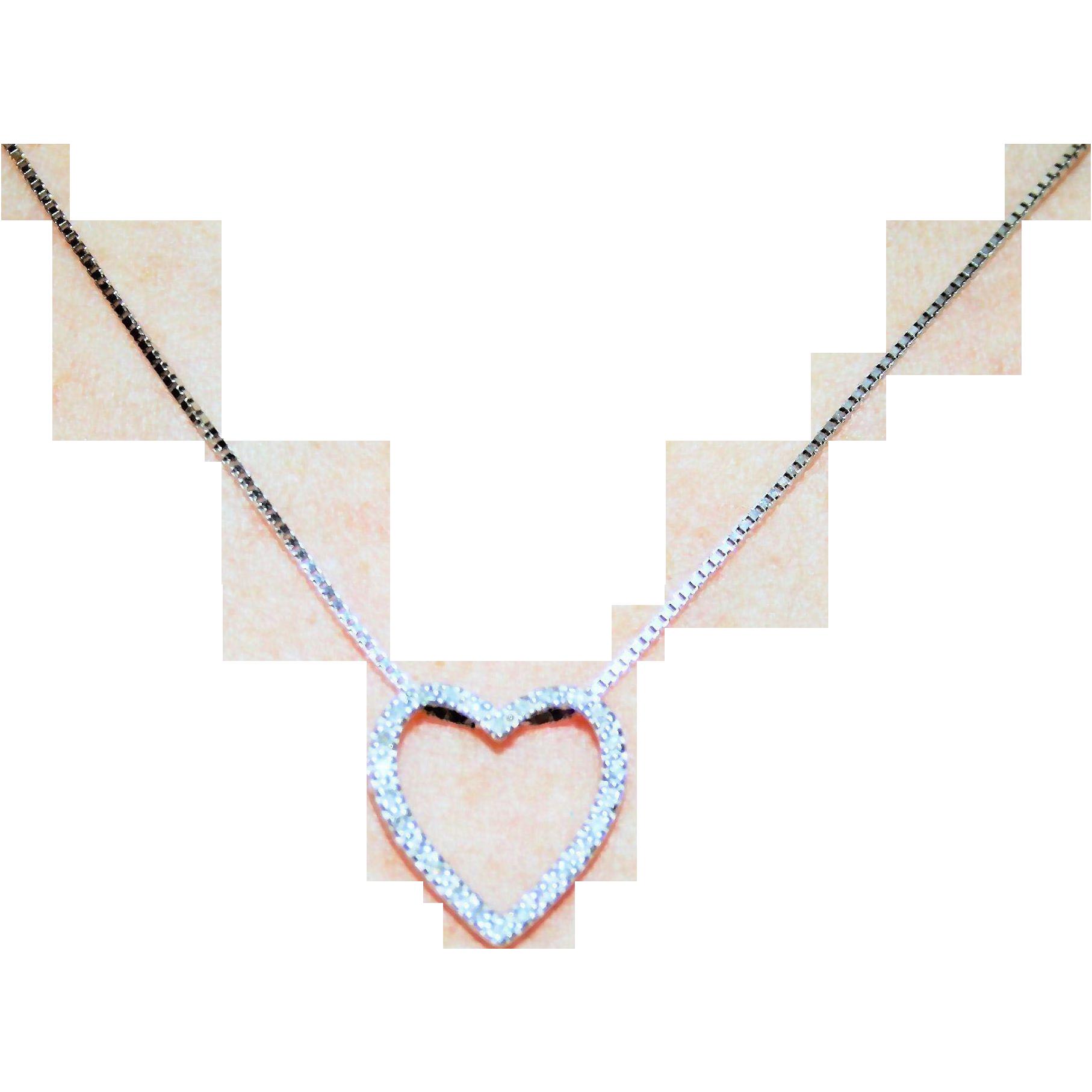 Shimmering White & Fiery Vintage Diamond Heart Pendant in 10 Karat
