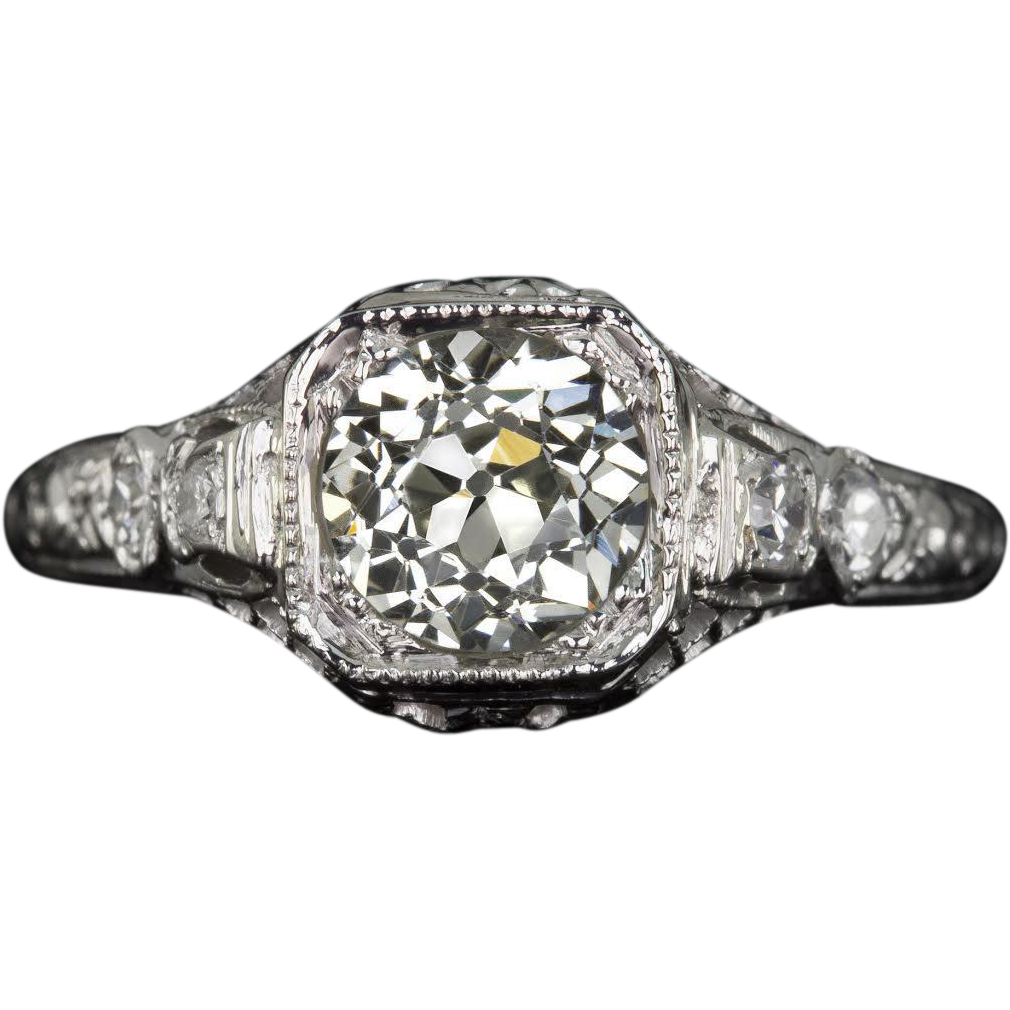 1930s Vintage 1 Carat Old European Cut Vs1 Certified Diamond Engagement Ring  Very Good Cut
