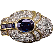 2.35cttw Natural Blue Sapphire Diamond Cocktail Ring Vintage 14 Karat Yellow Gold Art Deco Estate