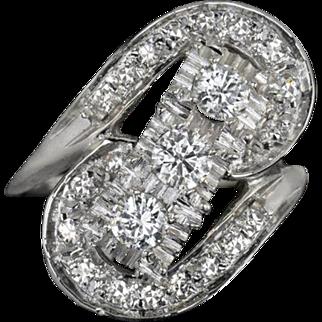 1940s Vintage 1 Carat Total Diamond Cocktail Ring 3 Stone Retro E-F VS1 14K White Gold Estate
