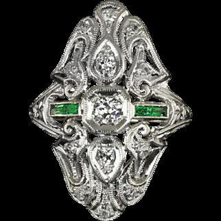 1920s Old Mine Cut Diamond Art Deco Antique Emerald Accent Platinum Cocktail Ring Vintage Big VS