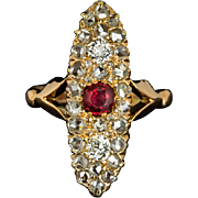 Victorian 1900s Rose Cut Diamond Ruby Cocktail Ring Rose Gold Vintage Antique Old Mine Cut