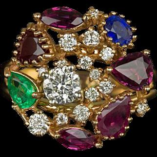Vintage Multi Stone Natural Gems Diamonds Cluster Cocktail Ring 14 Karat Rose Gold Estate 3.07cttw