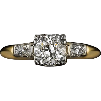 Vintage Old European Cut Center I VS1 Engagement Ring Art Deco Style Cocktail 14 Karat Gold
