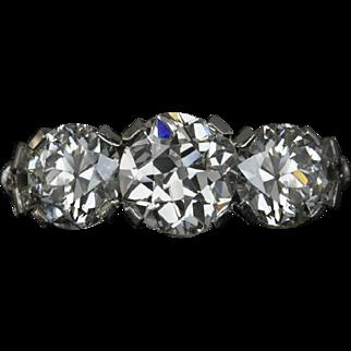 3.15cttw Old European Cut Diamonds 3 Stone Platinum Vintage Engagement Ring Cocktail Accent