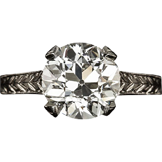 Vintage 2.31ct Old European Cut Diamond I VS2 Certified Solitaire Engagement Ring