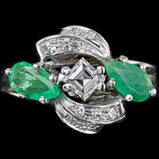 Vintage E VVS2 Diamond 1.75cttw Natural Emeralds Cocktail Ring Pear Shape Square Baguette Cut 14 Karat White Gold