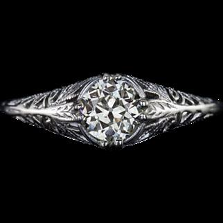 Vintage Old European Cut Center Solitaire Diamond Filigree Engagement Ring 14 Karat White Gold
