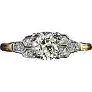 1 Carat Total Weight Vintage Diamond EGL-USA Certified L VS1 Engagement Ring Art Deco Style 14 Karat Yellow Gold