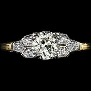 1 Carat Total Weight Vintage Diamond EGL-USA Certified L VS1 Engagement Ring Art Deco Style 14 Karat Yellow Gold