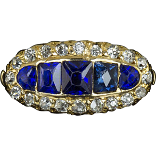 Antique Old Mine Cut Diamond Sapphire Art Nouveau Style 18 Karat Yellow Gold Vintage Halo Ring