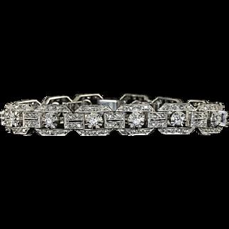 3.35cttw Art Deco Platinum Anniversary Tennis Bracelet Original Vintage 21 Grams Natural Diamonds