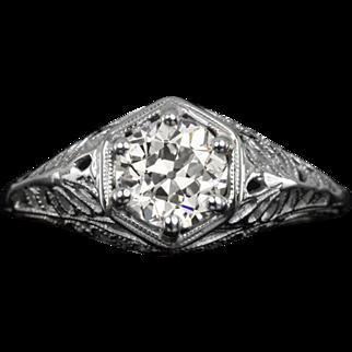 1.08 Carat VS1 Vintage Ideal Old European Cut Diamond Certified EGL-USA Filigree Engagement Ring Cocktail