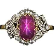 Antique Rare 3.40ct Star Ruby Natural AGL Certified Diamond Halo Vintage Cocktail Ring