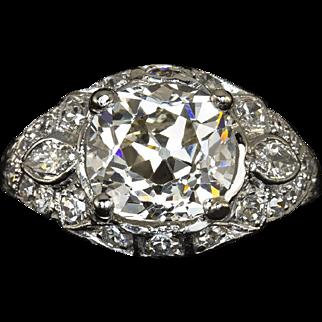 3.28cttw Antique Old Mine Brilliant Cut K VS1 GIA Certified Platinum Engagement Ring EGL-USA