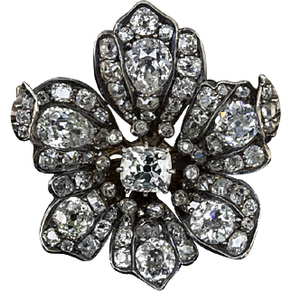 11.95cttw Diamond Antique Victorian Pin Floral Brooch Old Mine Cut Pears Old European Flower