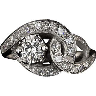 Mid Century Diamond Cocktail Ring Retro Link 0.80cttw Round Estate Jewelry Vintage Single Cuts 14 Karat White Gold