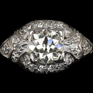 Vintage Art Deco 0.86 Carat Old European Cut Center VS1 Engagement Ring Platinum 1.06cttw 3.5 Grams