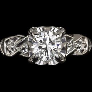 Vintage Transitional Cut Center Diamond Round G SI1 Engagement Ring 14 Karat White Gold Retro