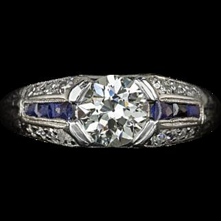 Vintage 0.75ct Old European Cut Center Diamond Blue Sapphire Accent Sides Engagement Ring Art Deco Custom Cut Gemstones Platinum