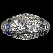 1.30cttw Old European Cut Double Diamond Sapphire Accent Platinum Cocktail Ring 1920s Vintage