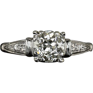 0.88ct Old European Cut Center Solitaire Engagement Ring 14 Karat White Gold 1920s Original