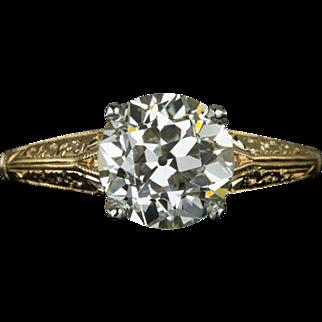 Ideal Cut 1.60ct Old European Cut Diamond VS Vintage Solitaire Engagement Ring Engraved 2 Tone 18 Karat Golds