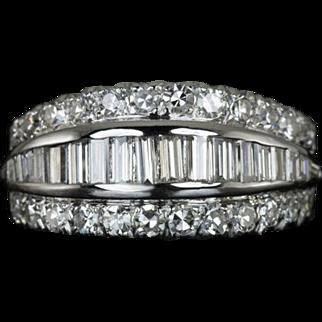 Vintage 1.60cttw F VS Diamond Baguette Round Cocktail Ring 14 Karat White Gold